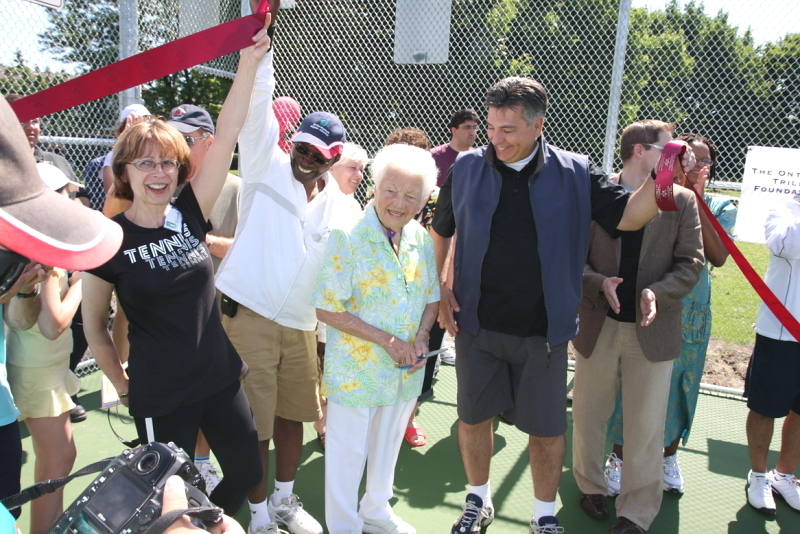 Mayor Hazel McCallion and Mississauga South MPP Charles Sousa at the Grand Re-opening of Mohawk Park Tennis Club, 12 July 2009 image from Alex Gregory 14 Apr 2017