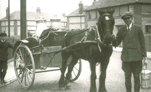 The old milk delivery method - by horse and cart in 1921 Google image from http://ashington.journallive.co.uk/nlhistory505.jpg