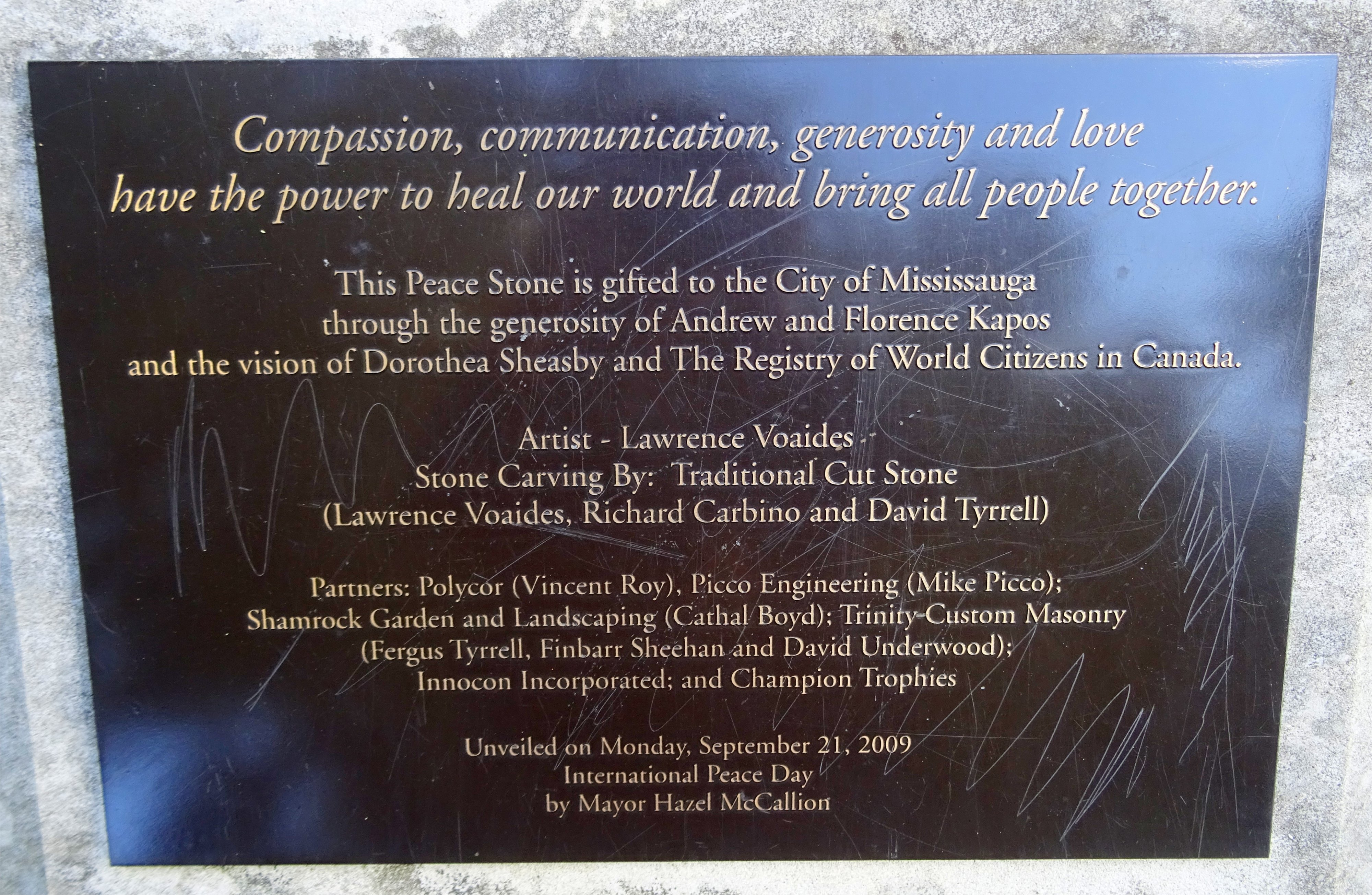 Peace Stone Unveiled by Mayor Hazel McCallion on September 21, 2009 by the shores of Lake Ontario in Richard's Memorial Park, 804 Lakeshore Road West, Mississauga ON L5H 1E5 Canada Photo by I Lee 27 Sep 2016