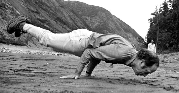 Pierre Elliot Trudeau Yoga Peacock Google image from https://nationalpostcom.files.wordpress.com/2016/03/trudeau1.jpg?w=620&quality=65&strip=all&h=323