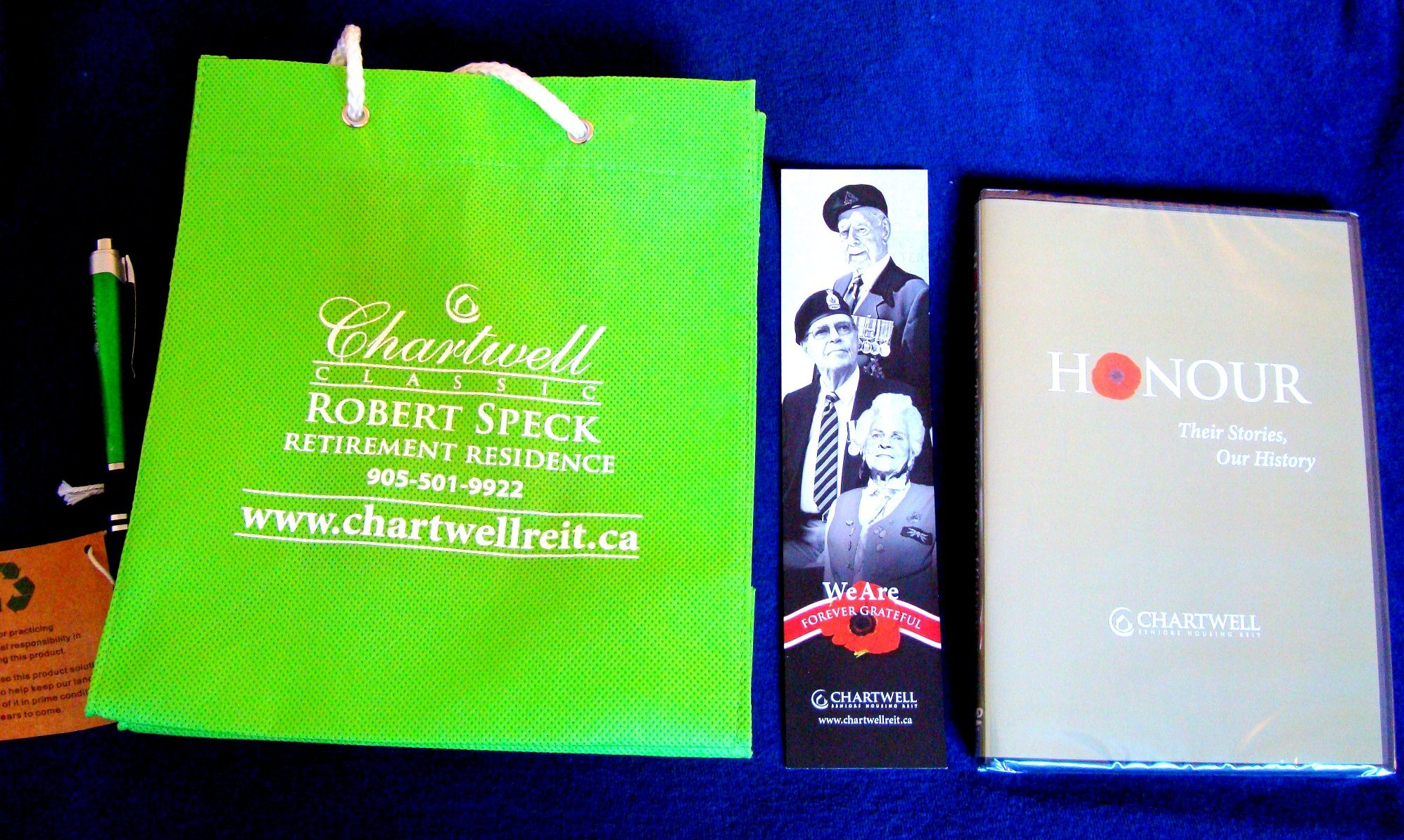 Souvenir for Rembrance Day Visitors from Chartwell Classic Robert Speck Retirement Residence