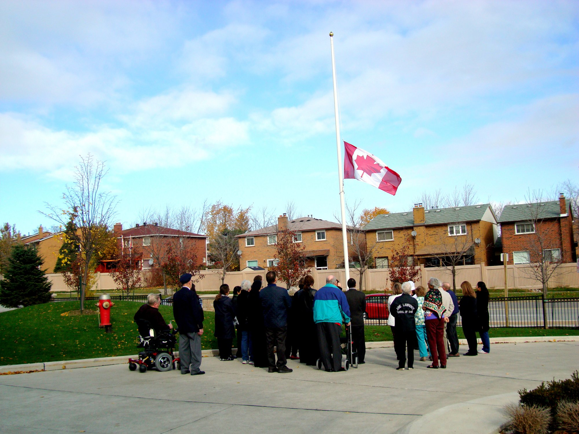 Canadian Flag flying at half-staff