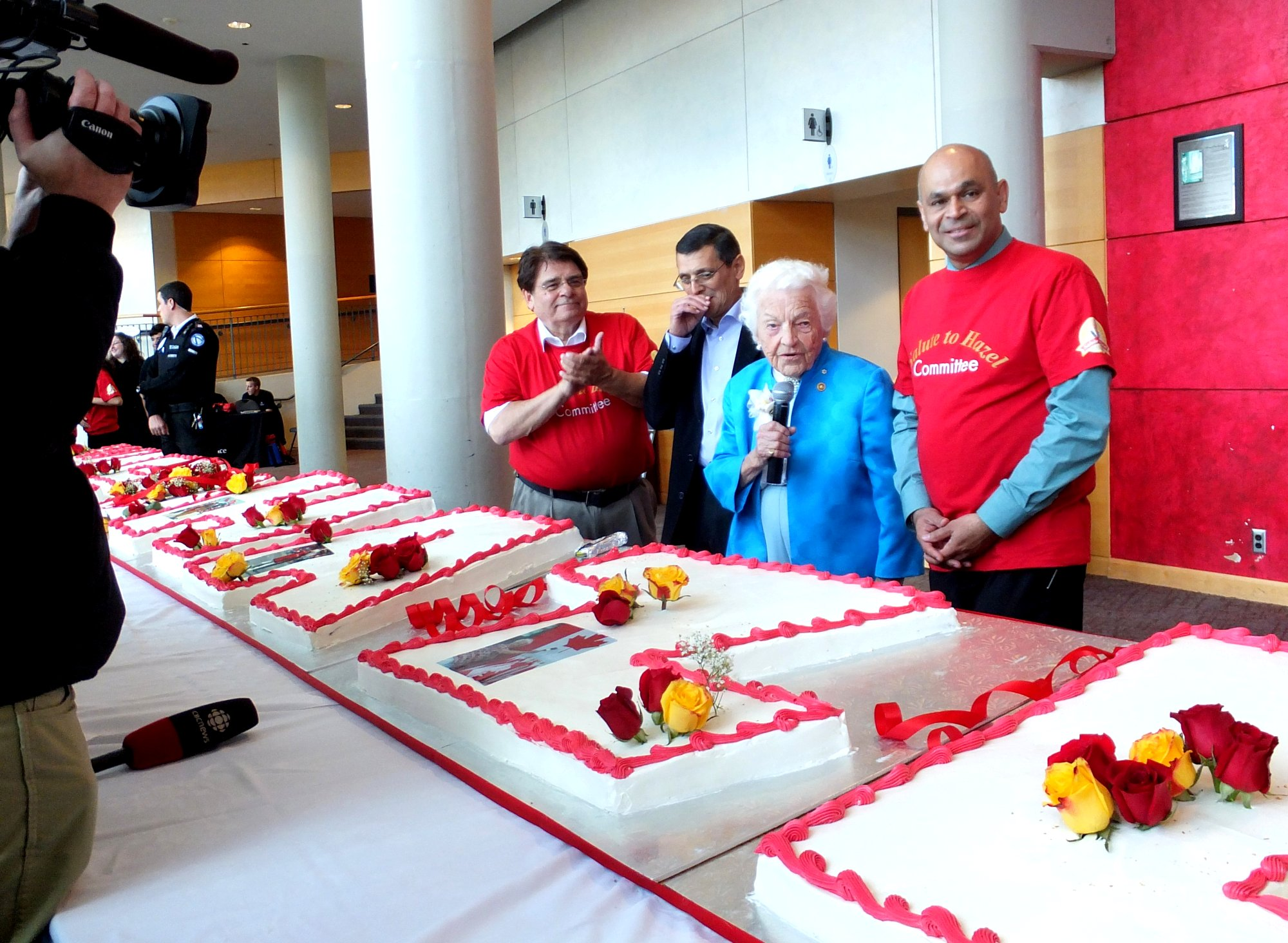Ron Lenyk, Mayor Hazel McCallion, Jake Dheer at Salute to Hazel, Living Arts Centre,19 Oct 2014. Photo by I Lee.