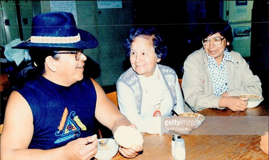 Ron Shawana, Millie Redmond, Cecile Lyon at Council Fire, June 11, 1986. Photo credits: David Cooper, Getty images
