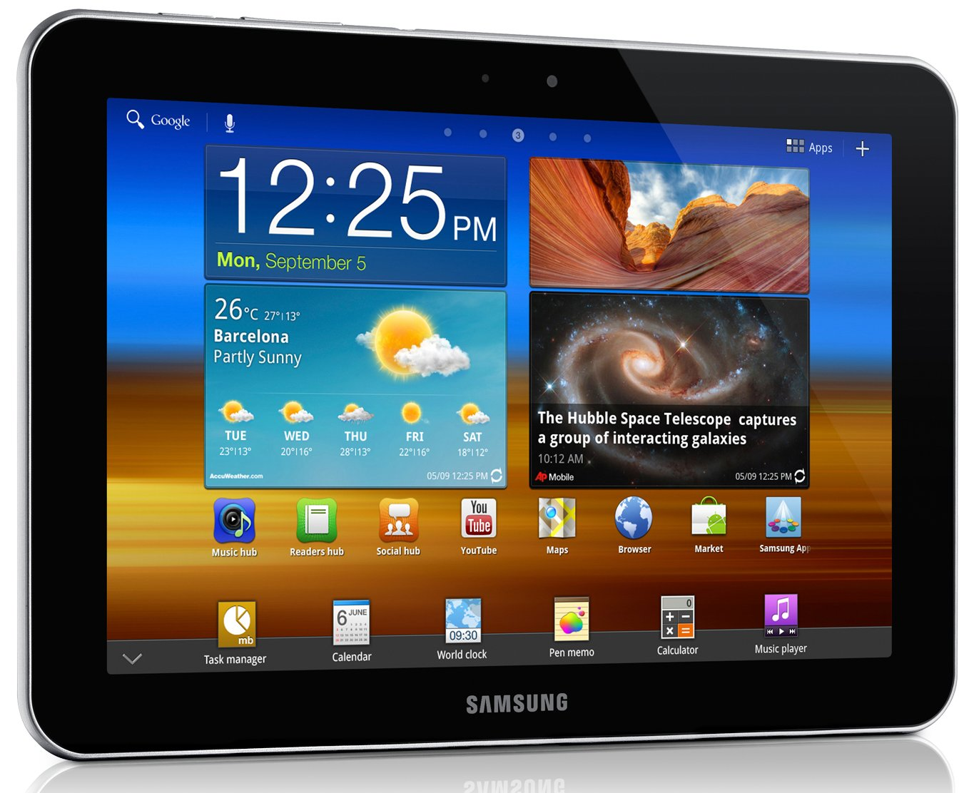 Samsung Galaxy Tablet Google image from http://images.samsung.com/is/image/samsung/sg_GT-P7300UWAXSP_002_Left-Angle?$Download-Source$