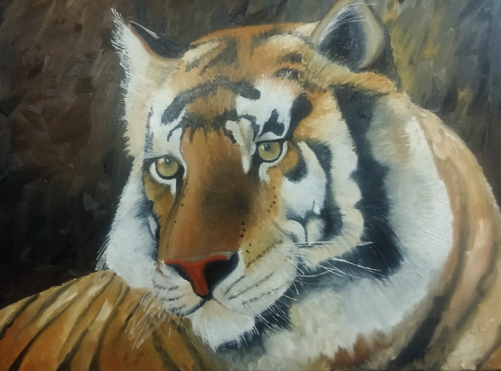 Sjon de Groot Think Again Before Taking a Shot Painting of Tiger Google image from http://artsonthecredit.ca/wp-content/uploads/2014/01/Sjon-de-Groot-Think-Again-Before-Taking-a-SHot.jpg