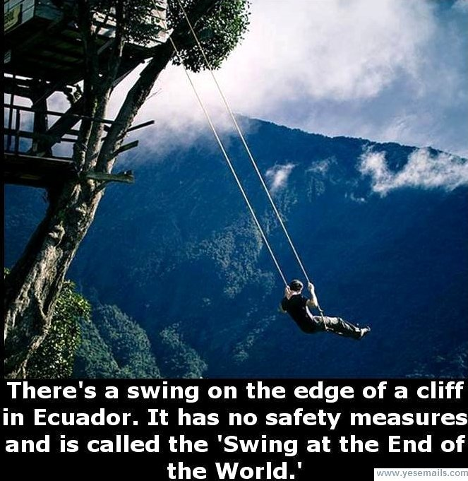 4. Swing at End of the World in Ecuador Google image from http://www.atlasobscura.com/places/swing-at-the-end-of-the-world