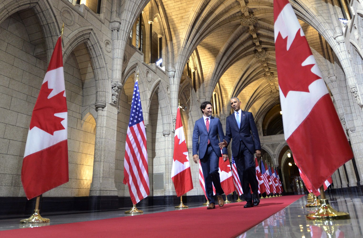 U.S. President Barack Obama and Prime Minister Justin Trudeau walk down the Hall of Honour on Parliament Hill Wednesday, June 29, 2016 in Ottawa. THE CANADIAN PRESS/Paul Chiasson  Google image from