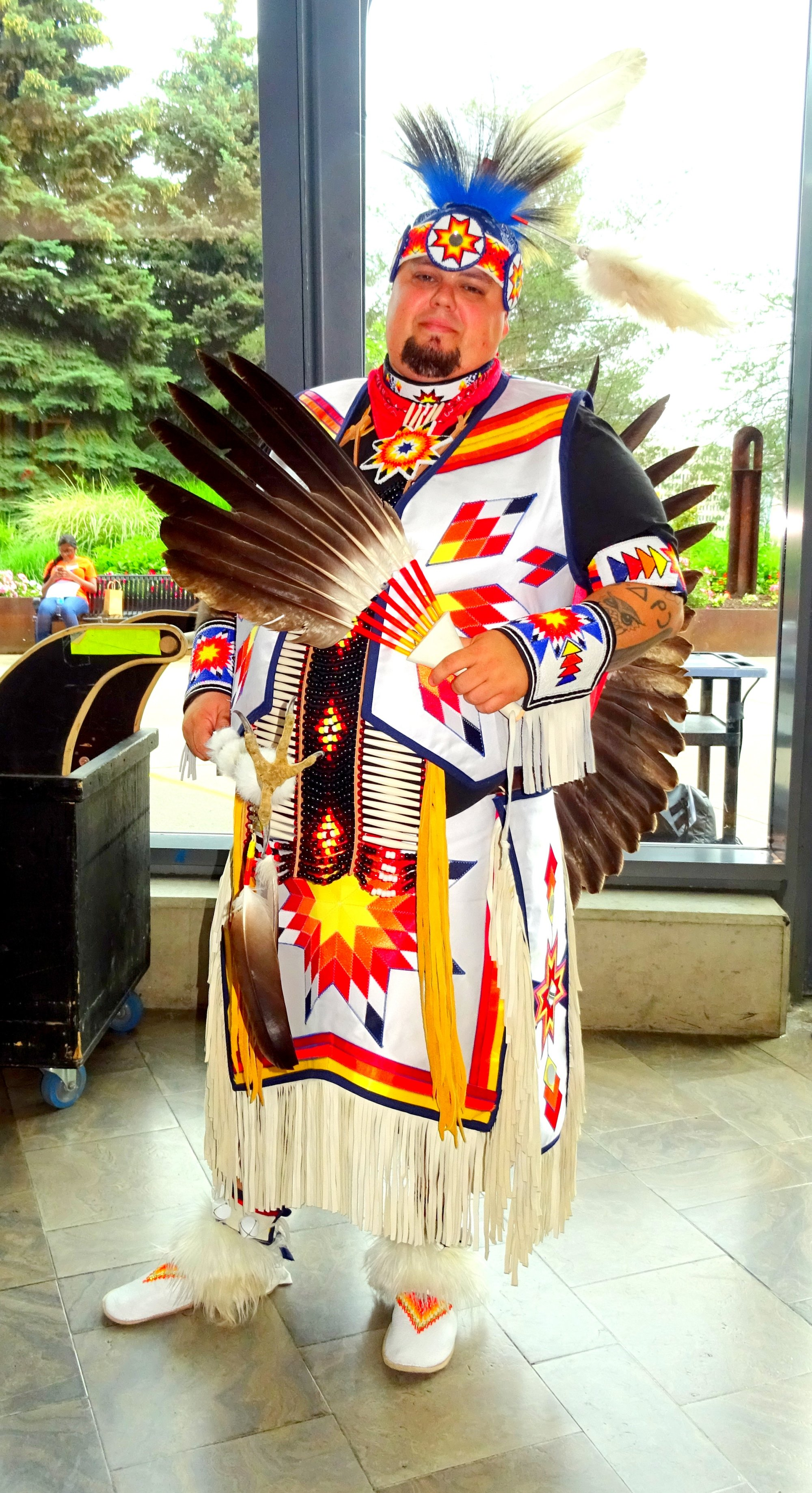 Elder Tyrone Shawana at Opening Ceremony, Canada 150th Birthday Celebration at Living Arts Centre, photo by I Lee, 1 July 2017