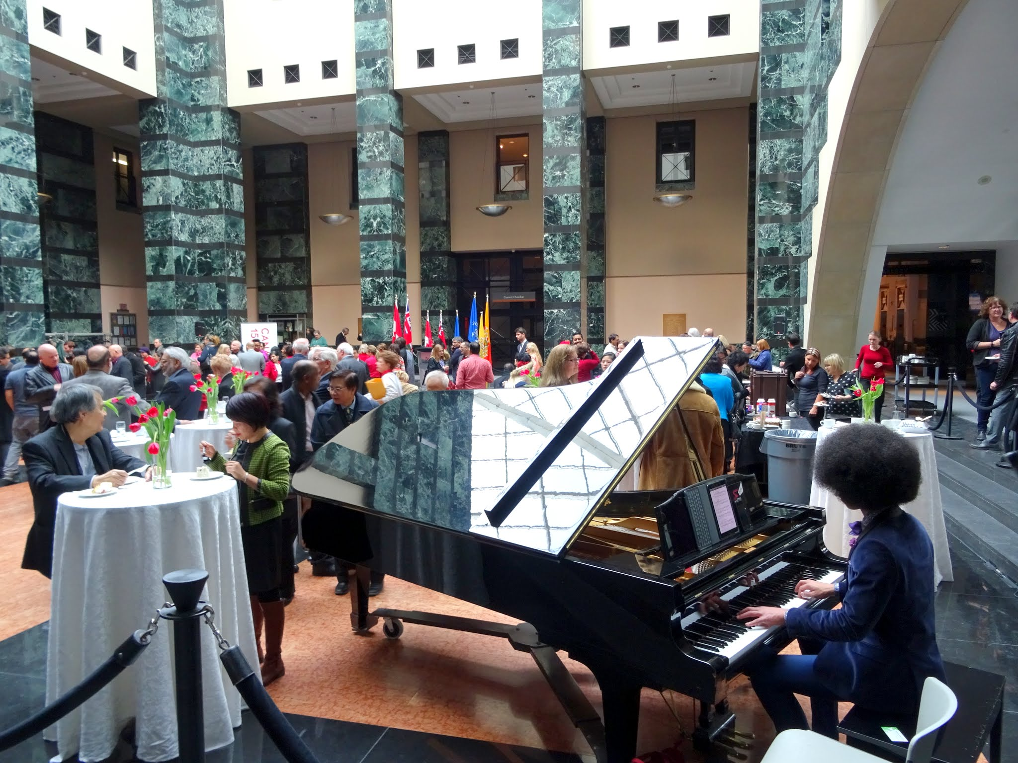 William Leathers pianist at Hazel McCallion Day Event, Mississauga Civic Centre, 14 Feb 2017