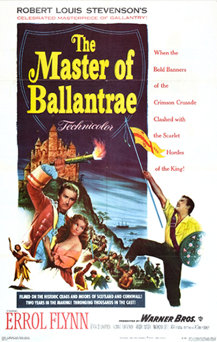 The Master of Ballantrae (1953) Movie Poster from https://upload.wikimedia.org/wikipedia/en/3/3a/The_Master_of_Ballantrae_%28film%29_poster.jpg