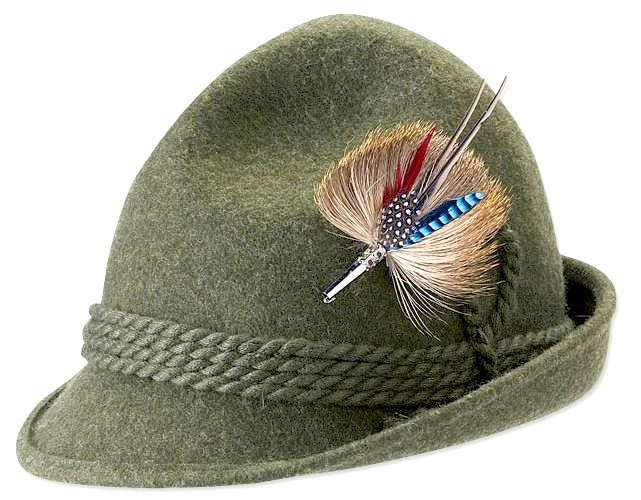 The Bavarian Tyrol-style hat of loden wool is an alpine icon. Worn for centuries by citizens of the Alps. Image from http://www.orvis.com/orvis_assets/prodimg/3R61L0HS.jpg