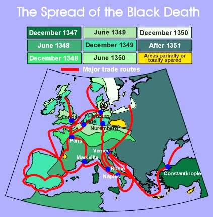 Spread of the Black Death Google image from http://www.ucalgary.ca/HIST/tutor/imagemid/blackdeathLarge.gif