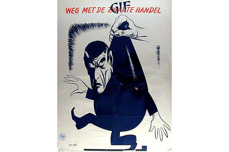 Weg met de zwarte handel poster, Occupied Netherlands, World War II / Propaganda against the Black Market Dutch War Poster Netherlands Google image from http://content.lib.washington.edu/cdm4/item_viewer.php?CISOROOT=/posters&CISOPTR=12 Poster Collection at University of Washington Libraries. Special Collections Division