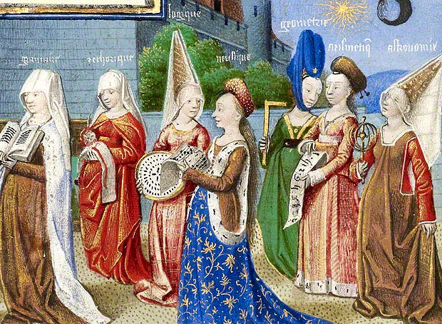 Medieval 1100-1450 | History of Costume - https://historyofeuropeanfashion.wordpress.com/2012/01/07/art-from-the-late-middle-ages/ Art from Late Middle Ages: historyofeuropeanfashion.wordpress.com 620 � 454. The women wear a variety of gown styles, including sideless surcoats over cotehardies and the v-necked, high-waisted 'Burgundian' gown. Google image from http://blogs.getty.edu/iris/files/2011/07/boethius_detail.jpg