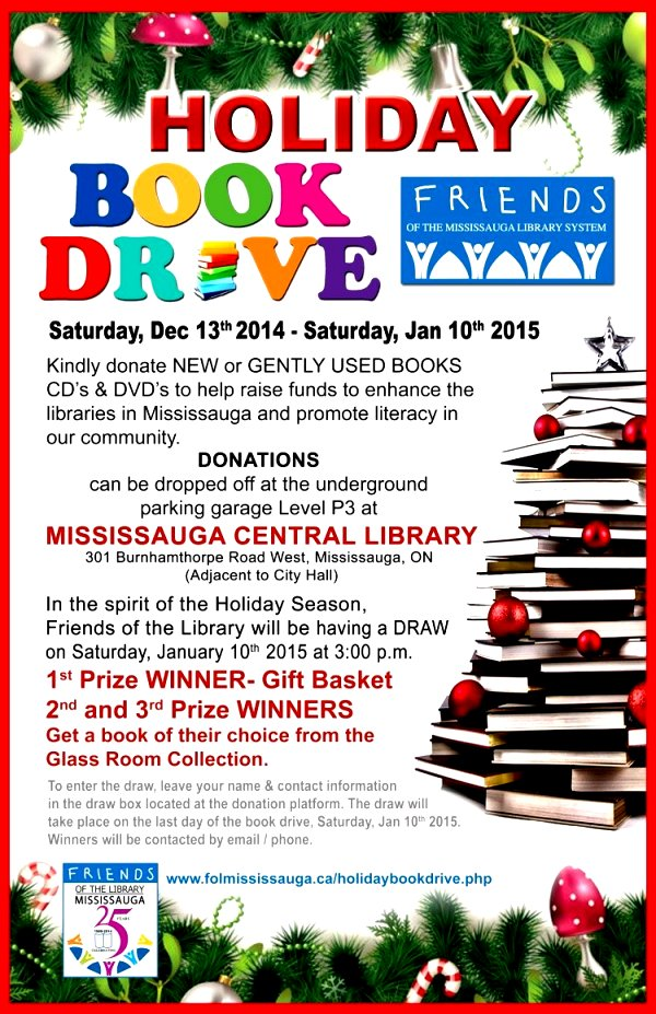 Friends of the Mississauga Library System Holiday Book Drive 2014 Poster