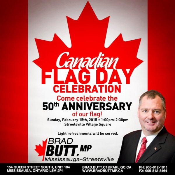 Brad Butt MP 50th Anniversary Canadian Flag Day Celebration 15 Feb 2015 image from http://bradbuttmp.ca/brads-briefs/