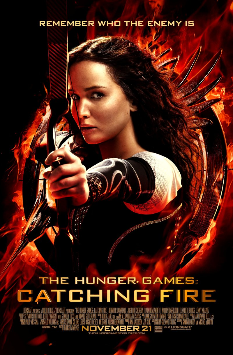 The Hunger Games: Catching Fire (2013) Movie Poster Google image from http://bibliofiend.com/wp-content/uploads/2013/09/catchingfirekatniss.jpg