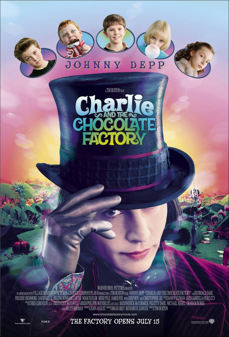 Charlie and the Chocolate Factory (2005) Movie Poster Google image from http://galleryhip.com/willy-wonka-and-the-chocolate-factory-movie-poster.html