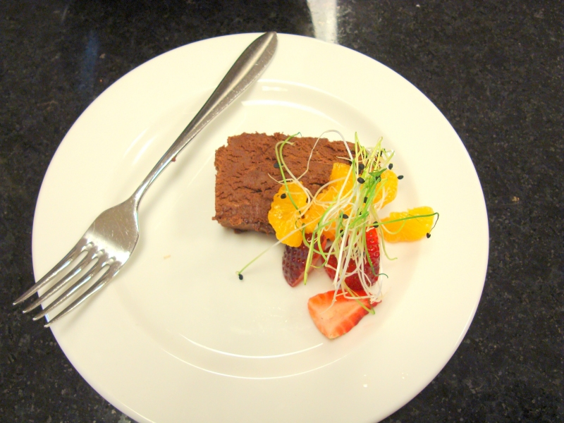 Chef Scott's Chocolate Pate with Garnish at Origin Evergreen Mississauga