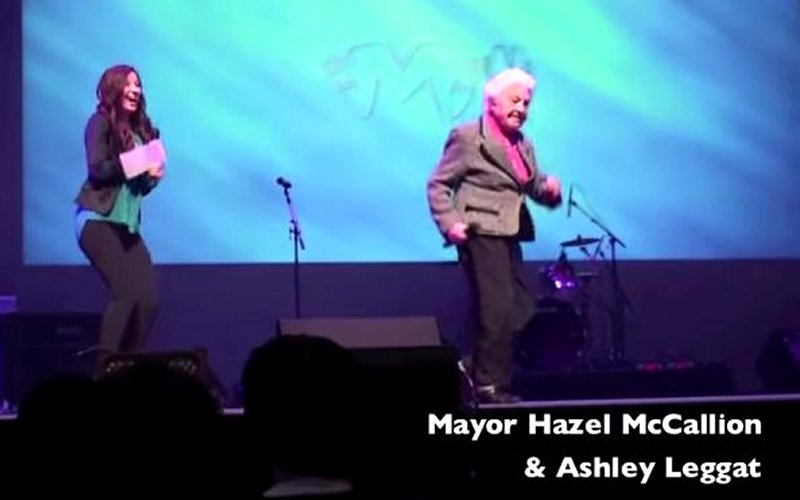Photo taken from Funny Clip: Mayor Hazel McCallion and Ashley Leggat at Count Me In 2012 YouTube video.
