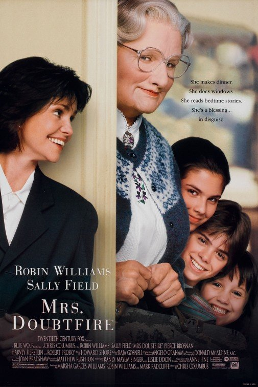 Mrs. Doubtfire (1993) Movie Poster Google image from http://www.impawards.com/1993/mrs_doubtfire_ver2.html