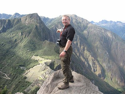 Dr. Kujtan atop Machu Picchu - sacred place - Andean Mountains in Peru