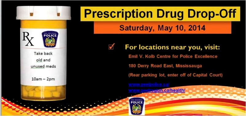 Prescription Drug Drop-Off at Emil V. Kolb Centre for Police Excellence, Region of Peel Police image from http://www.peelpolice.ca/