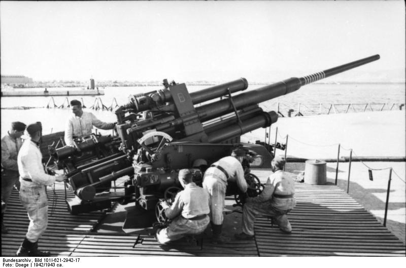 8.8 cm FlaK anti-aircraft gun on the French coast, operated by the German Luftwaffe, circa 1942-1943, Photographer : Doege. Source:    German Federal Archive Google image from http://ww2db.com/image.php?image_id=9958