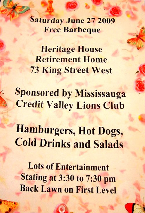 Heritage House Retirement Home Free BBQ Poster at Older Adult Centre
