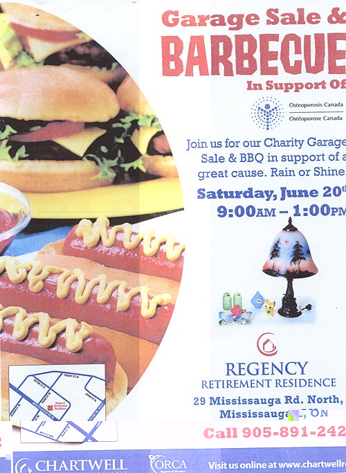 Regency Retirement Residence, Charity Garage Sale and BBQ in Support of Osteoporosis Canada - Poster at Older Adult Centre