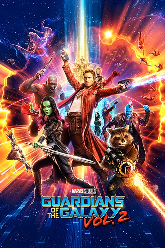 Guardians of the Galaxy Vol. 2 (2017) Movie Poster Google image from https://www.ebay.com/itm/Framed-Guardians-Of-The-Galaxy-Vol-2-One-Sheet-Poster-New-/401310851885