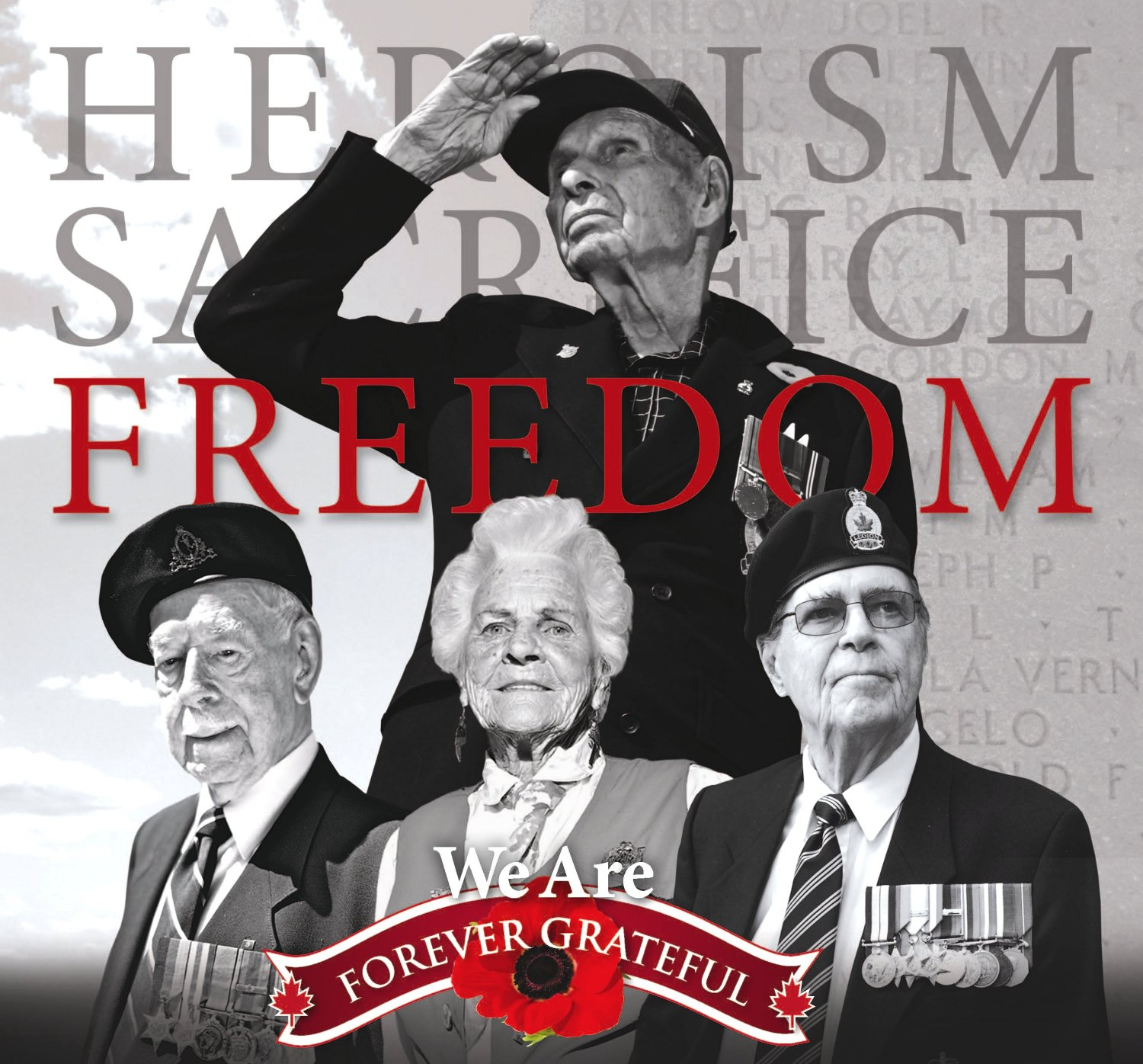 Heroism, Sacrifice, Freedom - We Are Forever Grateful image from Chartwell Remembrance Day Flyer 12Oct11