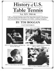 History of U.S. Table Tennis Volume 14