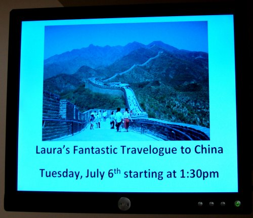 Laura's Fantastic Travelogue of China - Video display at Square One Older Adult Centre Photo by I Lee