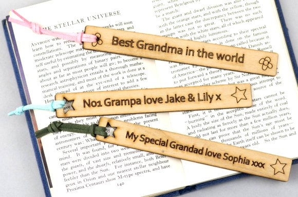 Leathercraft bookmarks Google image from https://www.wearescamp.co.uk/products/grandparent-laser-cut-wooden-bookmark