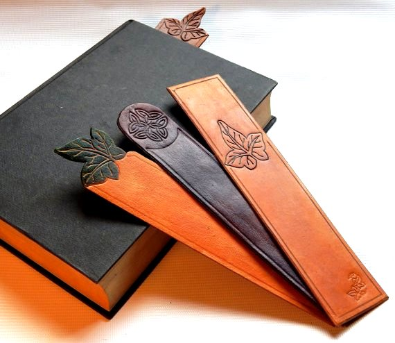 Leathercraft bookmarks Google image from https://folksy.com/items/5314201-Leather-Bookmarks-leaf-Celtic-knot-bookmark-3rd-anniversary-gift