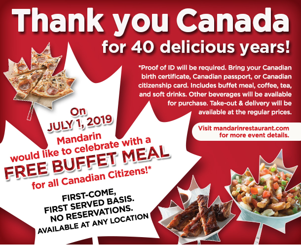 Madarin Free Buffet Meal for All Canadian Citizens image from Mandarin email