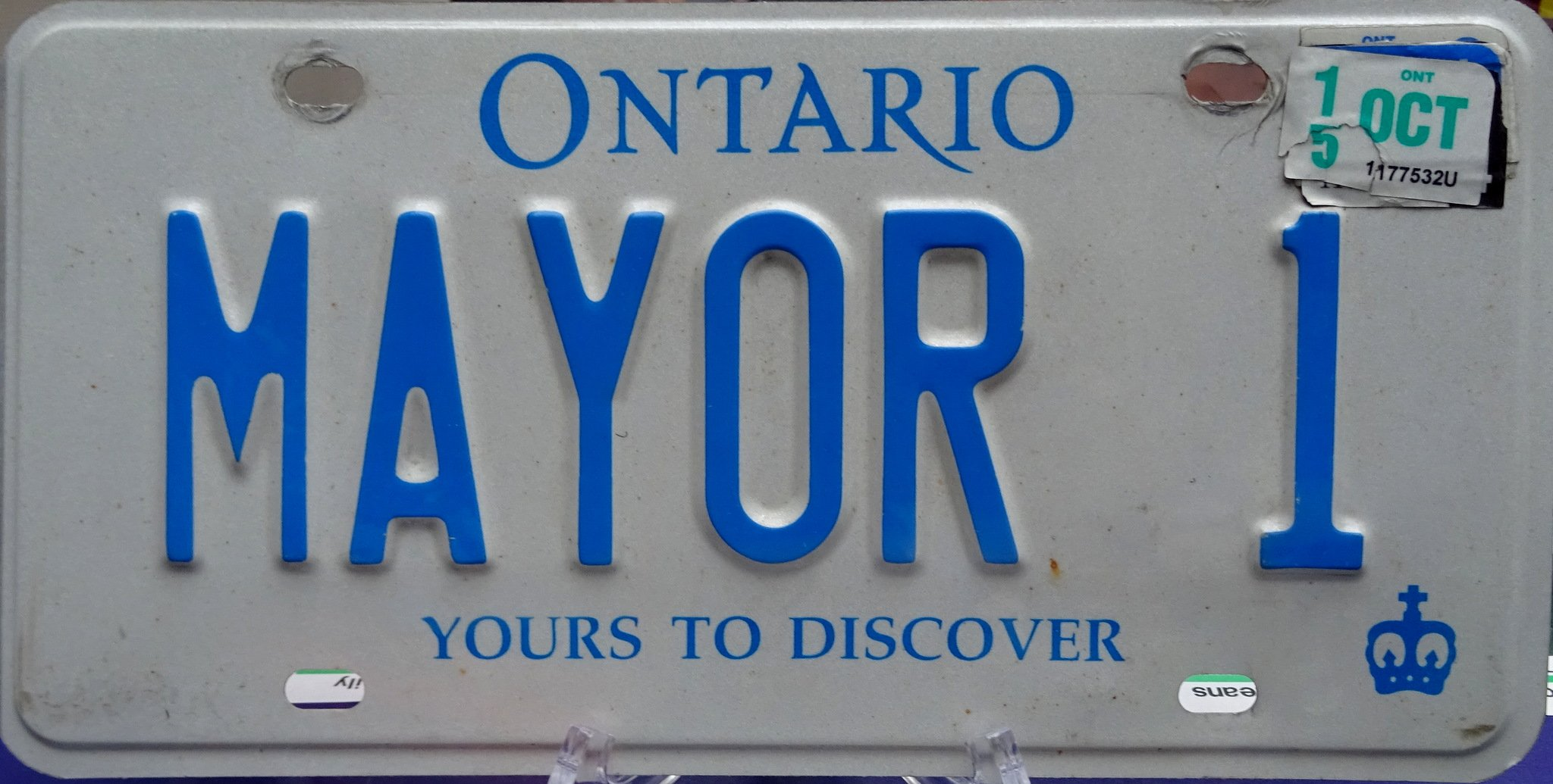 MAYOR 1 - Former Mississauga mayor Hazel McCallion's Car Licence Plate expired Oct. 2015. Photo by I Lee, 12 April 2017 at