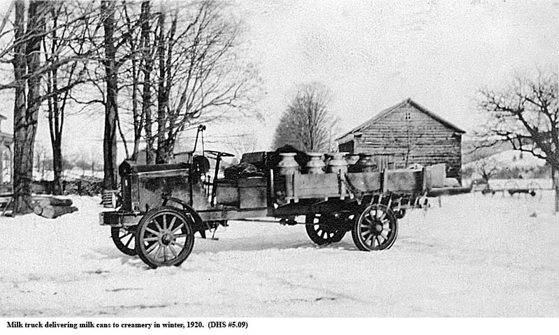 Milk Truck Delivering Milk  Cans in Winter of 1920 Google image from http://www.dcnyhistory.org/Fact_Fancy/images/5.09.jpg
