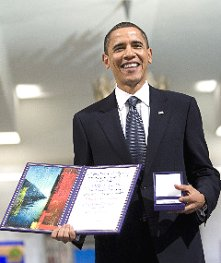 image from FoxNews http://whitehouse.blogs.foxnews.com/2009/12/10/obama-and-nobel/