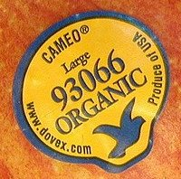 Cameo 93066 Organic Produce of USA Fruit Sticker Google image from http://wannaeatlikeme.files.wordpress.com/2010/03/fruit.jpg?w=240&h=216