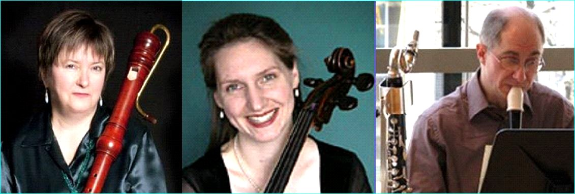 Musicians Alison Melville, Mary Katherine Finch, Colin Savage image from Port Credit Library flyer 22 Feb 2015