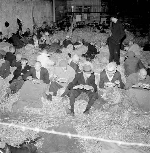 May 1945. Collaborators and members of the Dutch nazi party (NSB) incarcerated at a detention camp on the Levantkade in Amsterdam. In total approximately 120,000 collaborators were arrested after the liberation. Photo NFA/Nederlandse Fotomuseum / Charles Breijer Google image from http://www.annefrank.org/nl/Subsites/Amsterdam/Tijdlijn/Oorlog/1941/1941/Miep-en-Jan-Gies-trouwen/#!/nl/Subsites/Amsterdam/Tijdlijn/Na-de-oorlog/1945_II/1945/Burgemeester-Voute-wordt-gearresteerd/?viewtype=Contextual&subjectId=12395