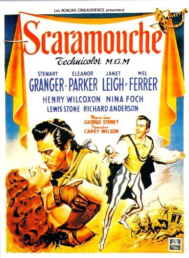 Scaramouche (1952) Movie Poster from https://upload.wikimedia.org/wikipedia/en/3/39/Scaramouche_1952_film.jpg