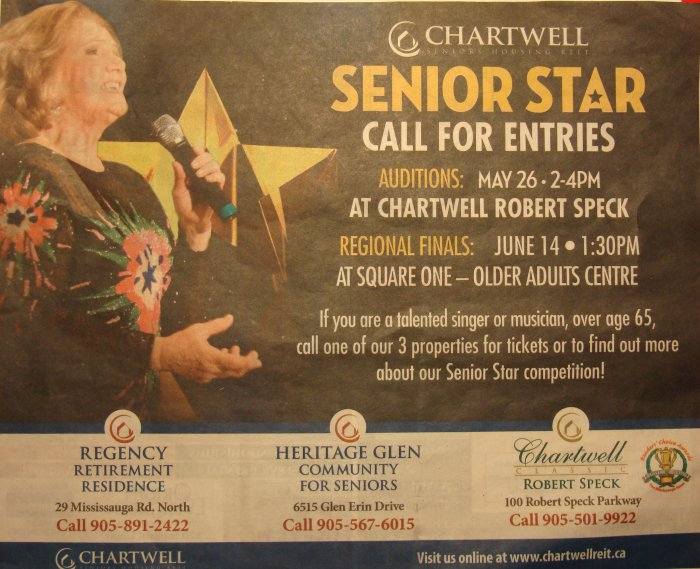 Chartwell's Senior Star Competition 14 June 2011 at Older Adult Centre, from p. 27, Mississauga News, 20 April 2011.