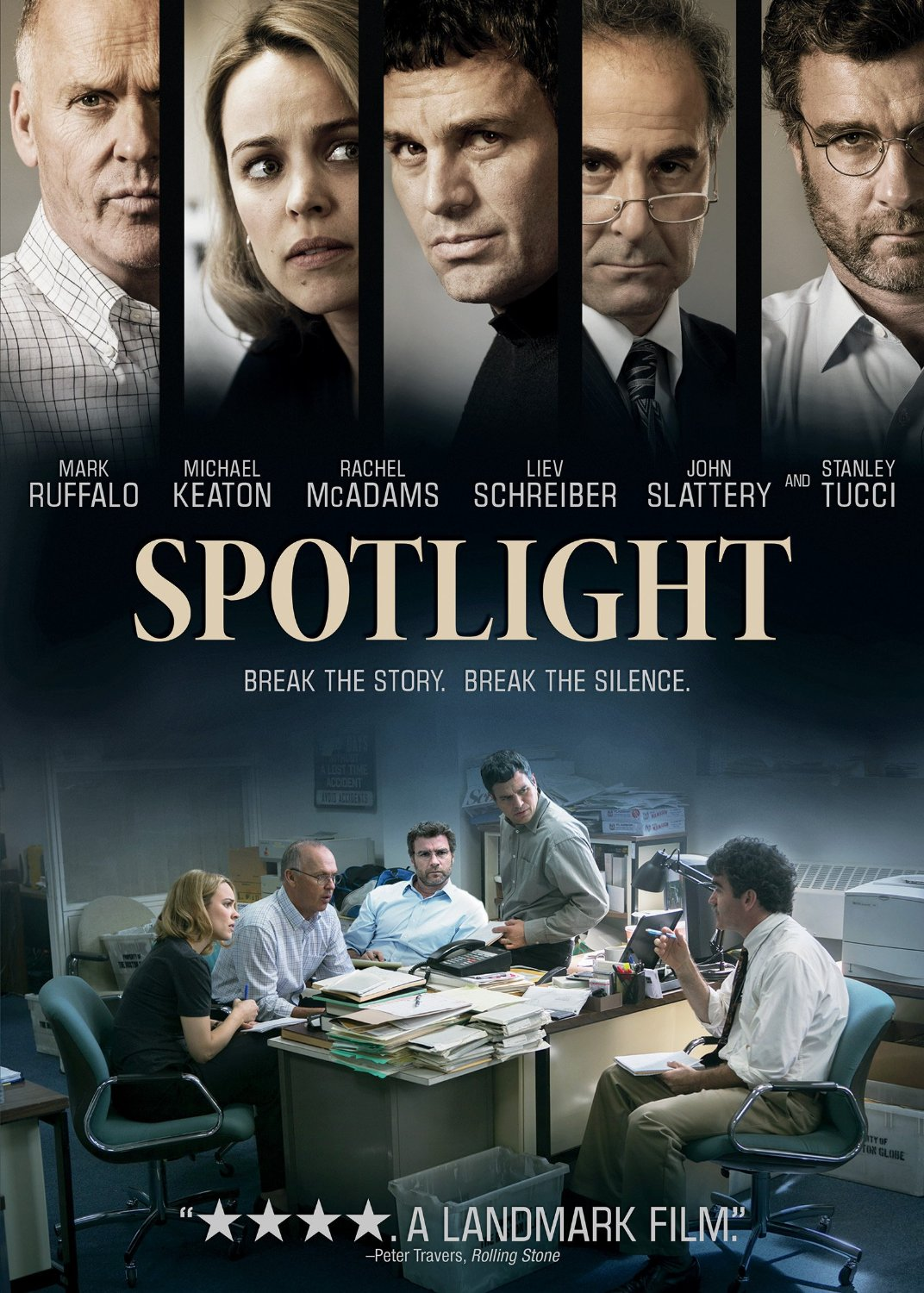 Spotlight (2015) Movie Poster Google image from http://library.hsmc.edu.hk/images/dvd_cover/000254347.jpg