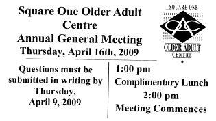 Older Adult Centre Annual General Meeting 2009