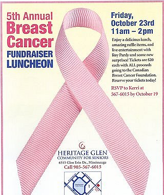 5th Annual Breast Cancer Fundraiser Luncheon flyer image from Chartwell, Heritage Glen Community for Seniors