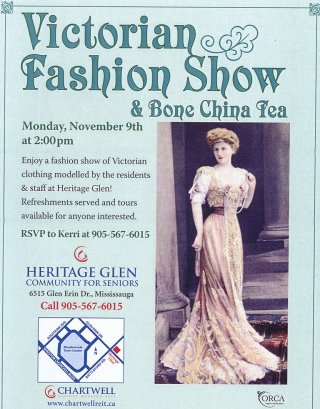 Victorian Fashion Show and Bone China Tea from Chartwell Heritage Glen flyer